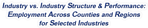 Missouri - Industry vs. Industry Structure & Performance: Employment Across Counties and Regions for Selected Industries